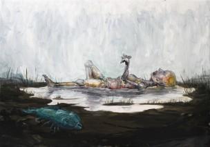 2014-05, dead fish, 70x100cm, oilpaint on canvas